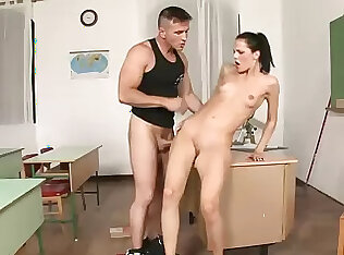 Brunette teacher with skinny body fucked in both holes by partisan