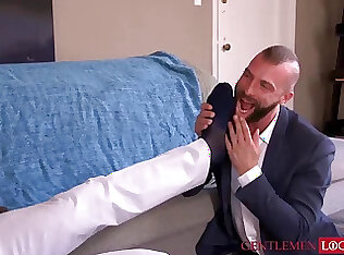 Kinky man in suit Zario Travezz mouth filled in out of place cum